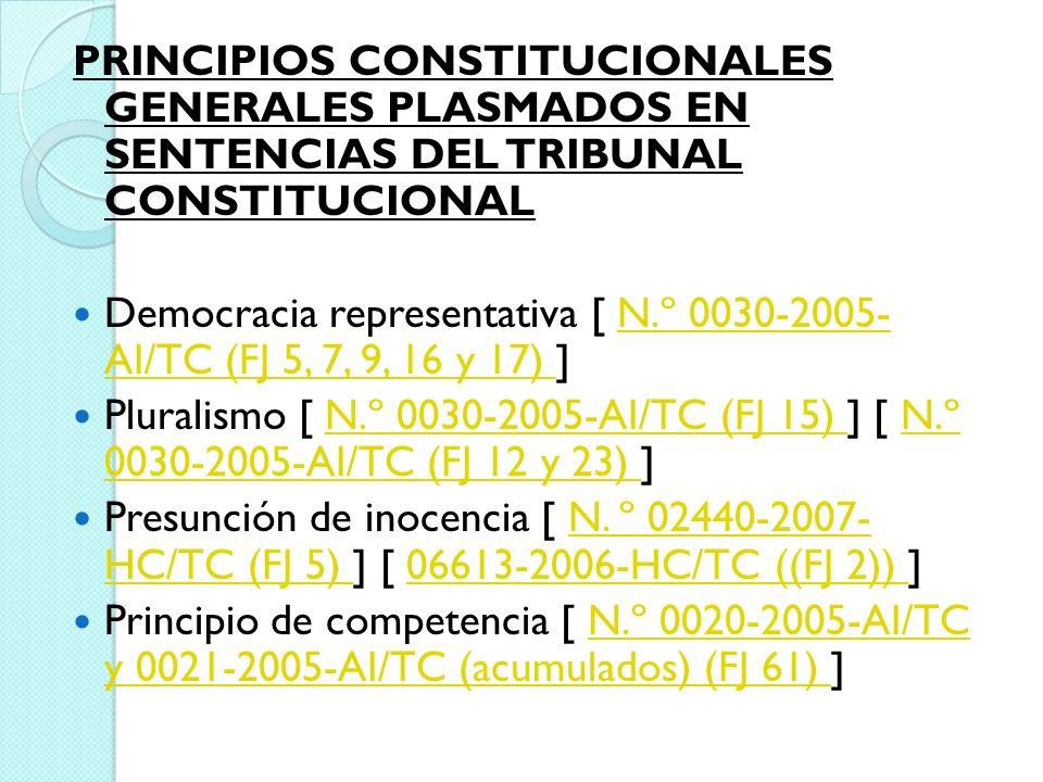 PRINCIPIOS CONSTITUCIONALES GENERALES PLASMADOS EN SENTENCIAS DEL TRIBUNAL CONSTITUCIONAL Democracia representativa [ N.º 0030-2005- AI/TC (FJ 5, 7, 9