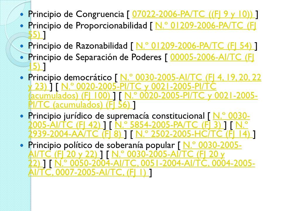 Principio de Congruencia [ 07022-2006-PA/TC ((FJ 9 y 10)) ]07022-2006-PA/TC ((FJ 9 y 10)) Principio de Proporcionabilidad [ N.º 01209-2006-PA/TC (FJ 5