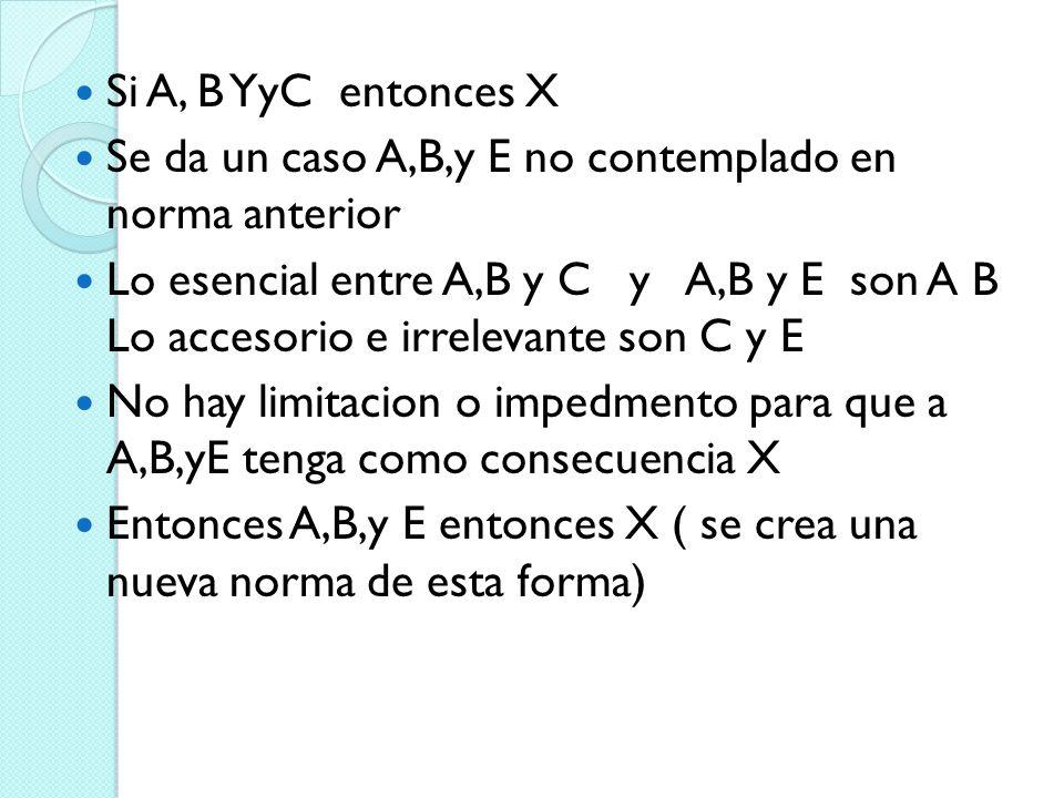 Si A, B YyC entonces X Se da un caso A,B,y E no contemplado en norma anterior Lo esencial entre A,B y C y A,B y E son A B Lo accesorio e irrelevante s