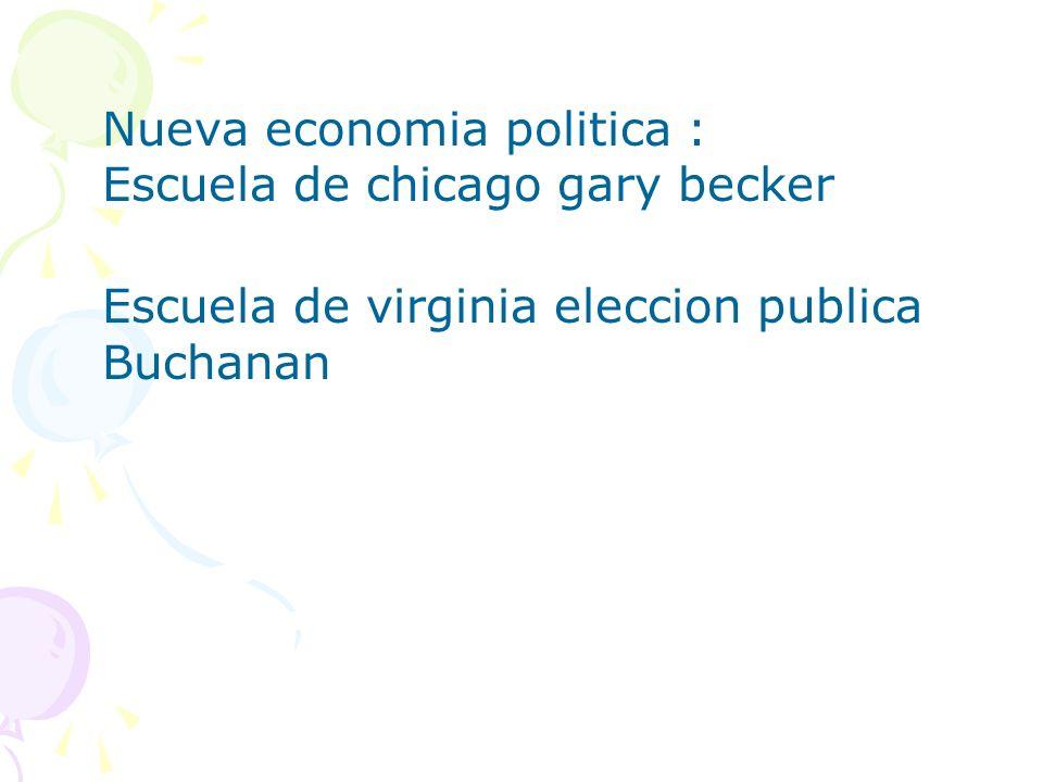 Nueva economia politica : Escuela de chicago gary becker Escuela de virginia eleccion publica Buchanan