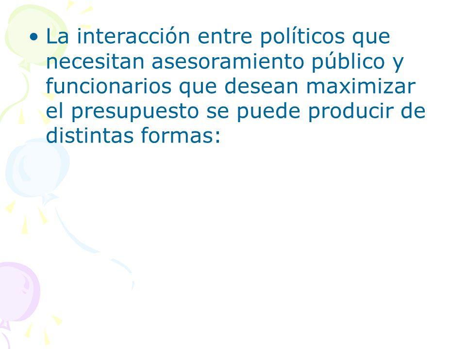 La interacción entre políticos que necesitan asesoramiento público y funcionarios que desean maximizar el presupuesto se puede producir de distintas f