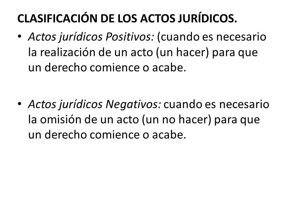 CLASIFICACIÓN DE LOS ACTOS JURÍDICOS. Actos jurídicos Positivos: (cuando es necesario la realización de un acto (un hacer) para que un derecho comienc