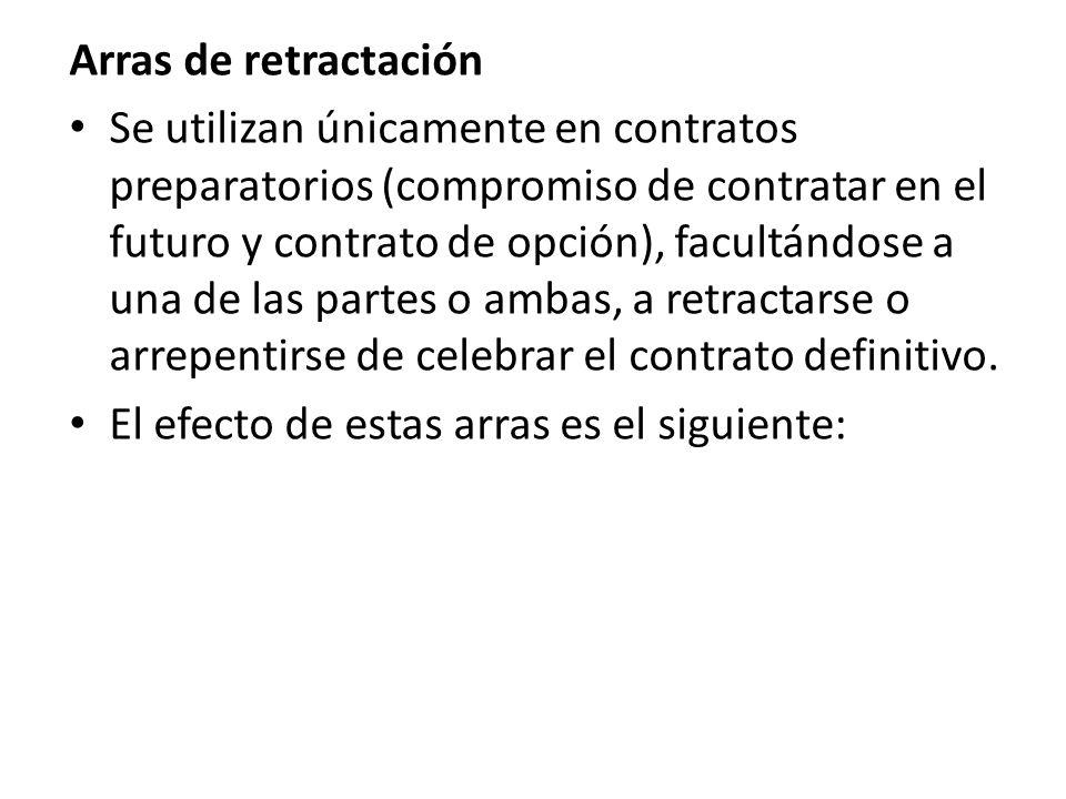 Arras de retractación Se utilizan únicamente en contratos preparatorios (compromiso de contratar en el futuro y contrato de opción), facultándose a un