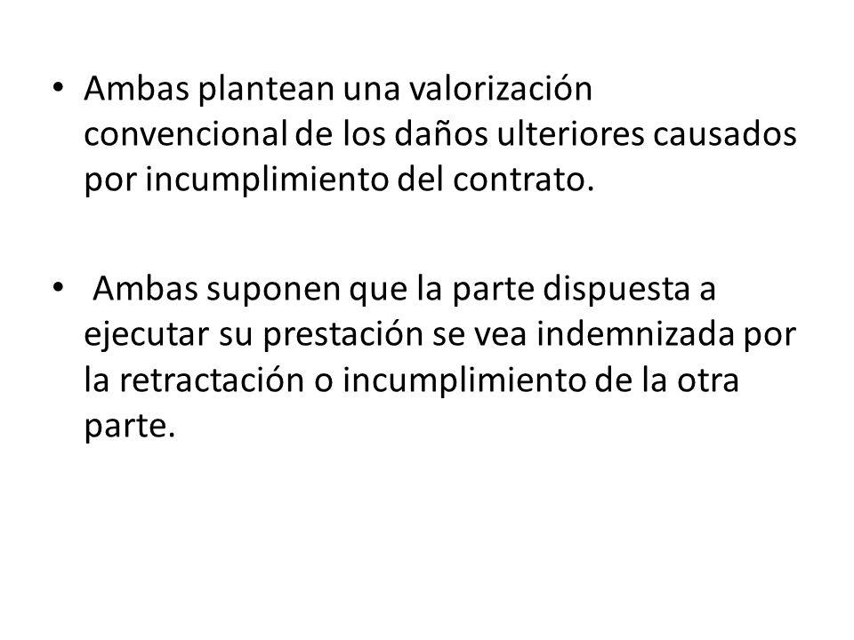 Ambas plantean una valorización convencional de los daños ulteriores causados por incumplimiento del contrato. Ambas suponen que la parte dispuesta a