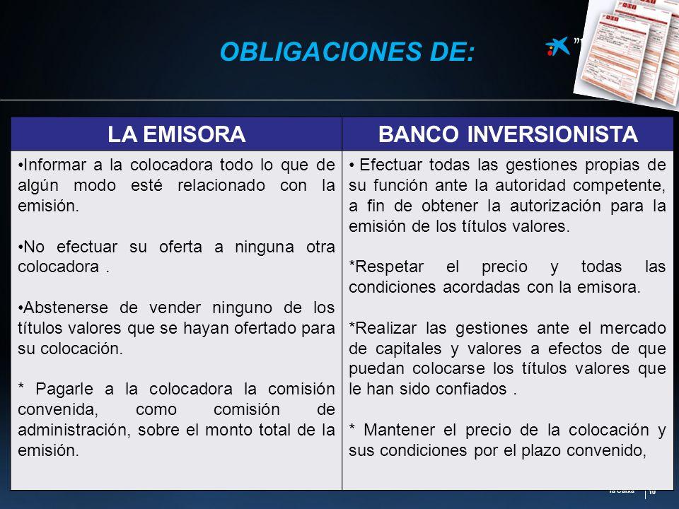 la Caixa 10 OBLIGACIONES DE: LA EMISORABANCO INVERSIONISTA Informar a la colocadora todo lo que de algún modo esté relacionado con la emisión. No efec