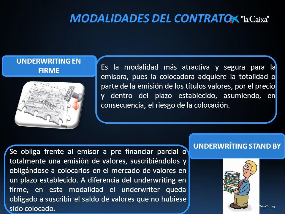 la Caixa 13 MODALIDADES DEL CONTRATO Es la modalidad más atractiva y segura para la emisora, pues la colocadora adquiere la totalidad o parte de la em