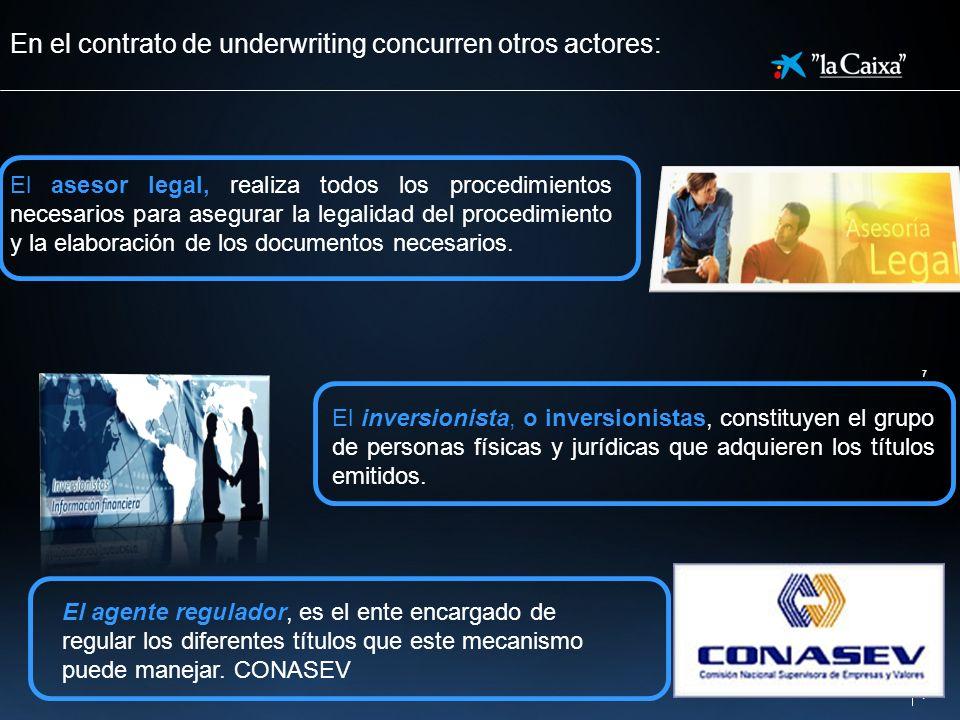 la Caixa 7 7 En el contrato de underwriting concurren otros actores: El asesor legal, realiza todos los procedimientos necesarios para asegurar la leg