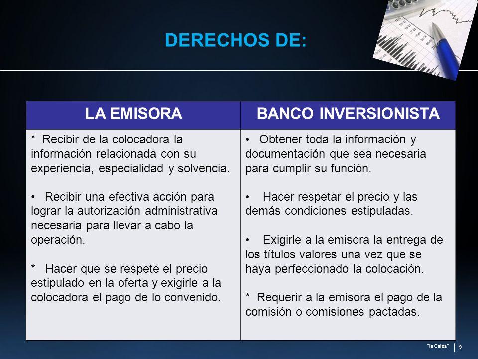 la Caixa 9 DERECHOS DE: LA EMISORABANCO INVERSIONISTA * Recibir de la colocadora la información relacionada con su experiencia, especialidad y solvenc