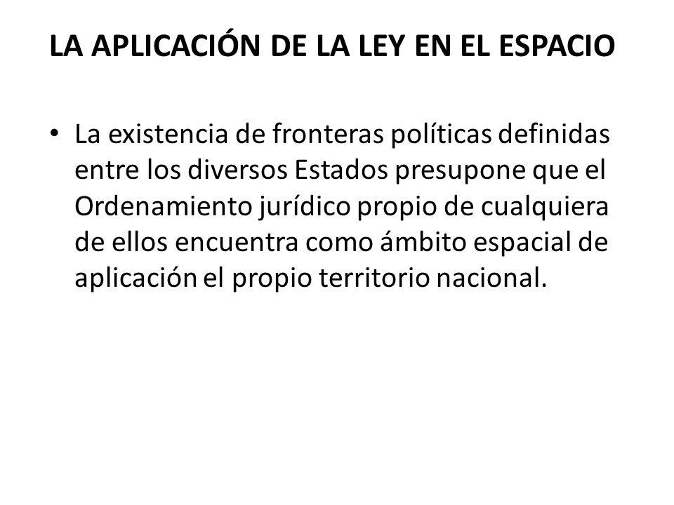 LA APLICACIÓN DE LA LEY EN EL ESPACIO La existencia de fronteras políticas definidas entre los diversos Estados presupone que el Ordenamiento jurídico