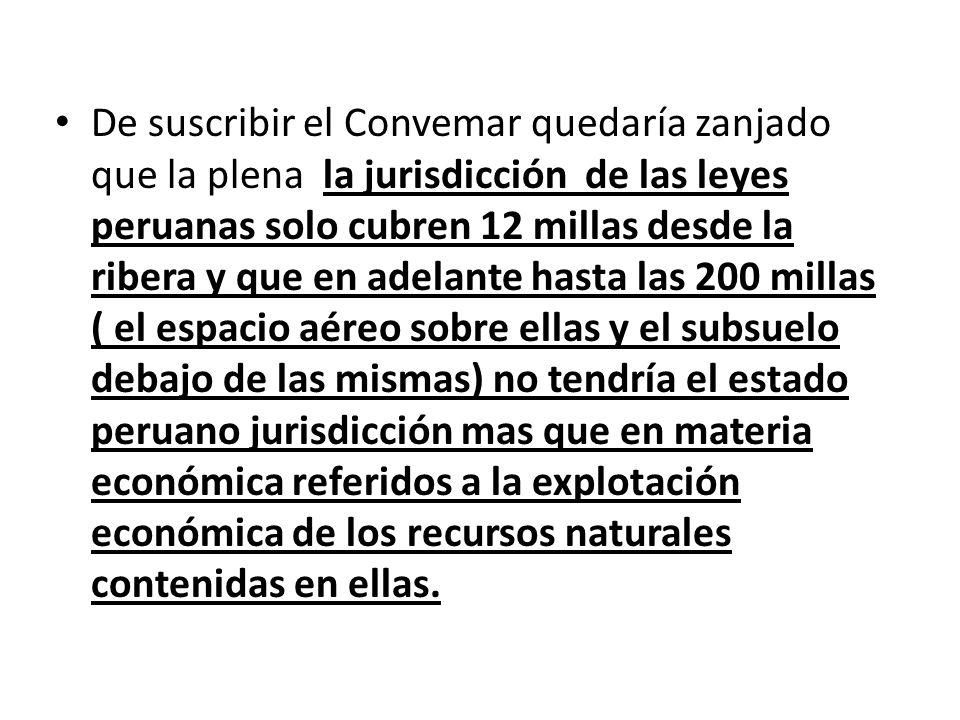 De suscribir el Convemar quedaría zanjado que la plena la jurisdicción de las leyes peruanas solo cubren 12 millas desde la ribera y que en adelante h