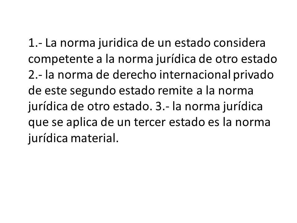 1.- La norma juridica de un estado considera competente a la norma jurídica de otro estado 2.- la norma de derecho internacional privado de este segun