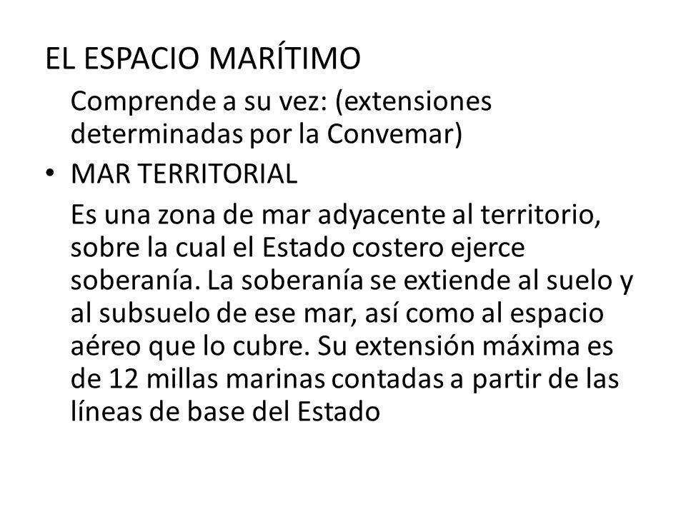 EL ESPACIO MARÍTIMO Comprende a su vez: (extensiones determinadas por la Convemar) MAR TERRITORIAL Es una zona de mar adyacente al territorio, sobre l
