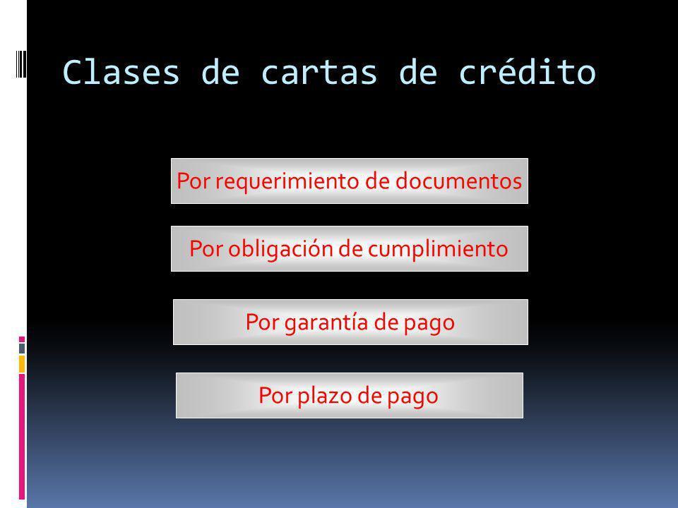Por Requerimientos de documentos Limpias (Clean) Documentadas Documentary Letter of Credit