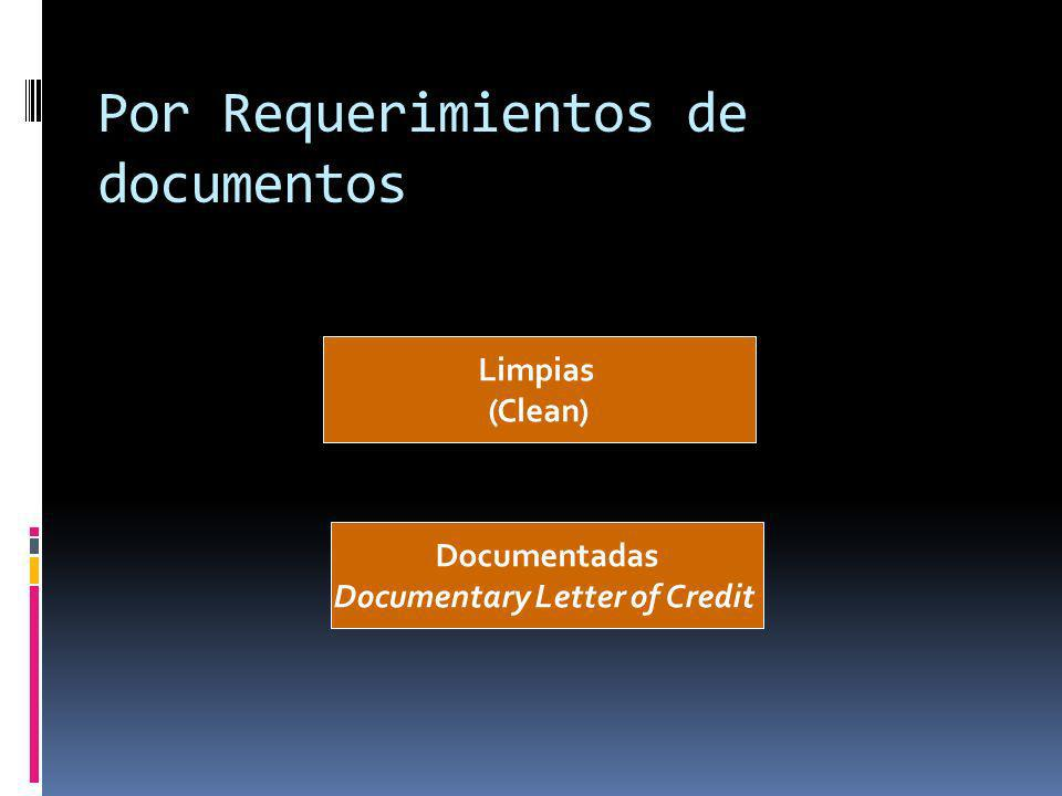 Por Requerimientos de documentos Limpias (Clean) Documentadas Documentary Letter of Credit