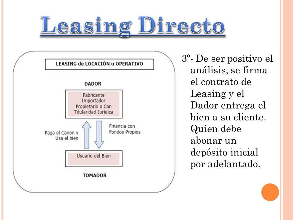 3º- De ser positivo el análisis, se firma el contrato de Leasing y el Dador entrega el bien a su cliente. Quien debe abonar un depósito inicial por ad