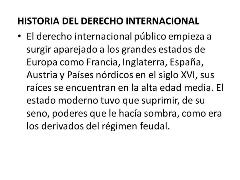 HISTORIA DEL DERECHO INTERNACIONAL El derecho internacional público empieza a surgir aparejado a los grandes estados de Europa como Francia, Inglaterr