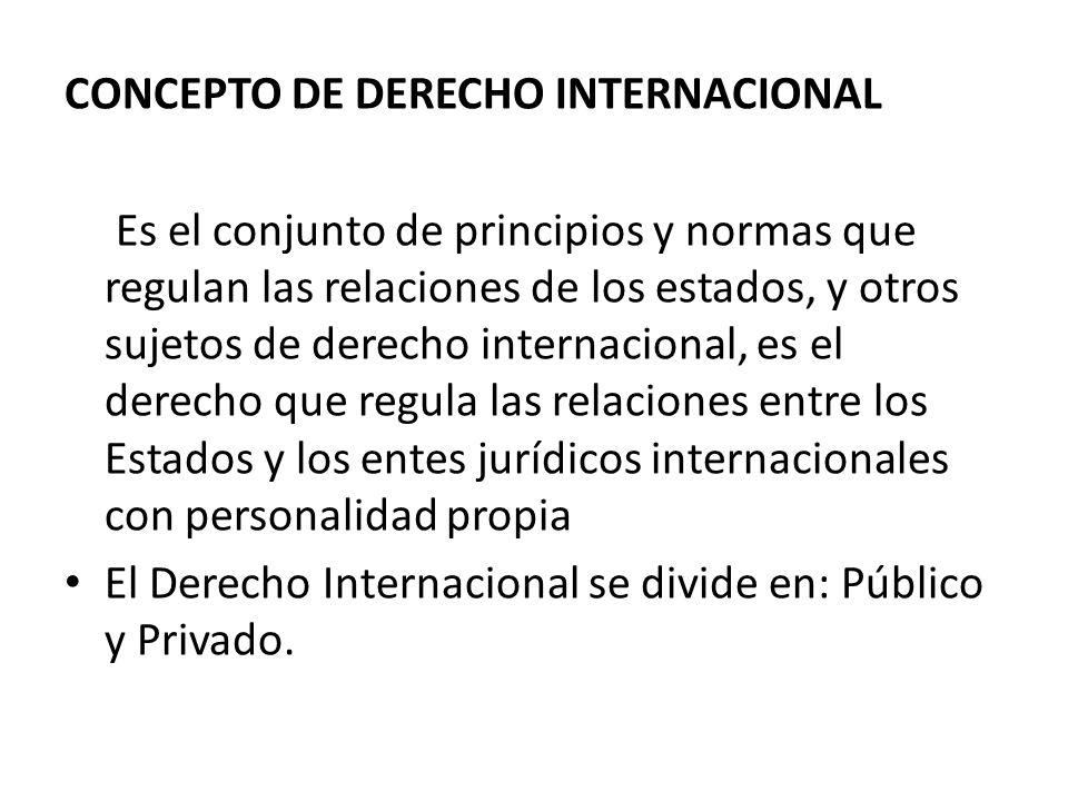 CONCEPTO DE DERECHO INTERNACIONAL Es el conjunto de principios y normas que regulan las relaciones de los estados, y otros sujetos de derecho internac