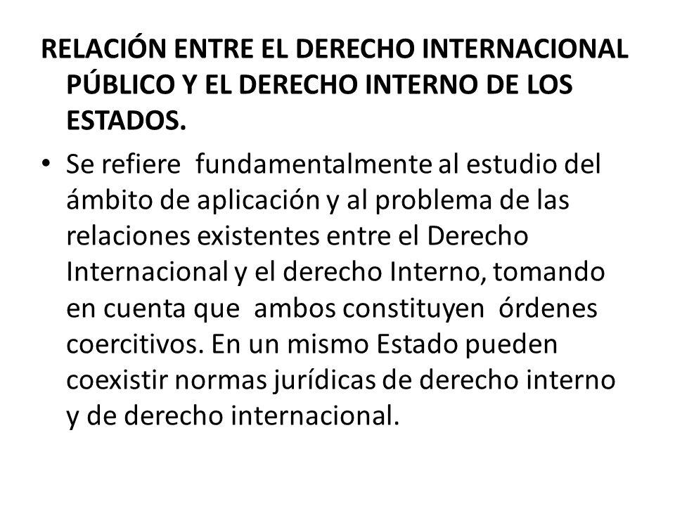 RELACIÓN ENTRE EL DERECHO INTERNACIONAL PÚBLICO Y EL DERECHO INTERNO DE LOS ESTADOS. Se refiere fundamentalmente al estudio del ámbito de aplicación y