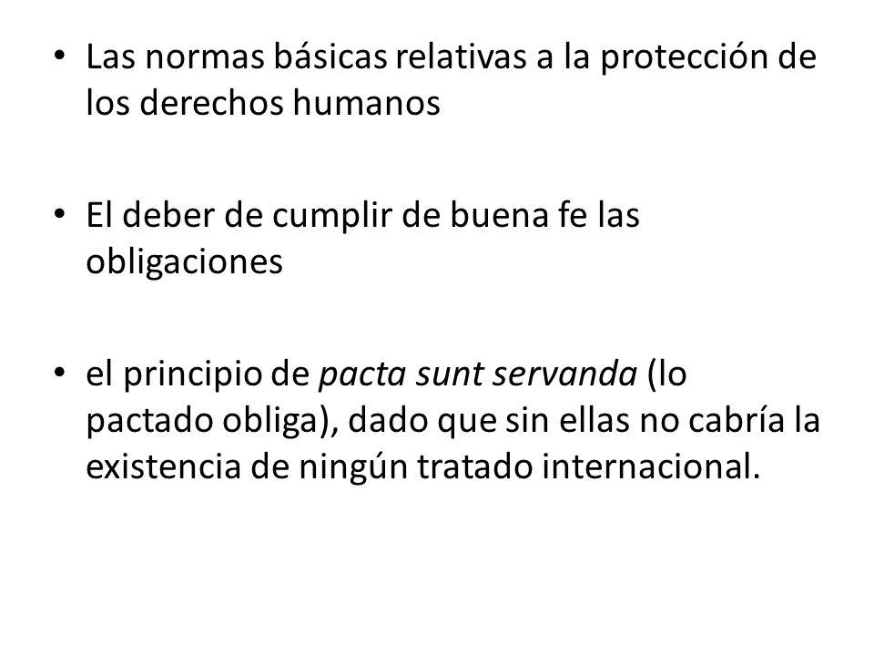 Las normas básicas relativas a la protección de los derechos humanos El deber de cumplir de buena fe las obligaciones el principio de pacta sunt serva