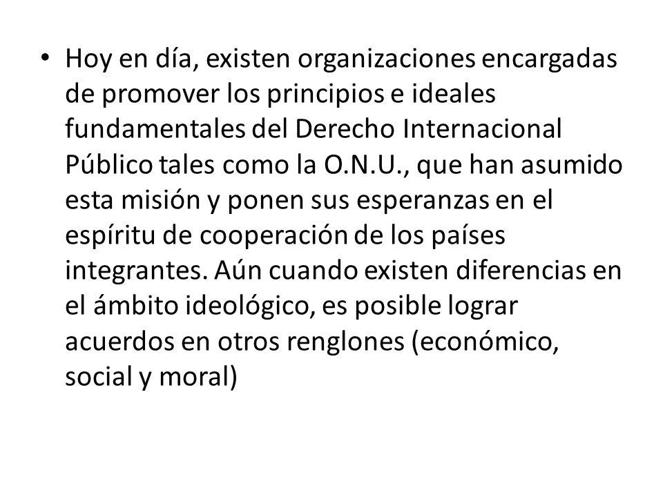 Hoy en día, existen organizaciones encargadas de promover los principios e ideales fundamentales del Derecho Internacional Público tales como la O.N.U