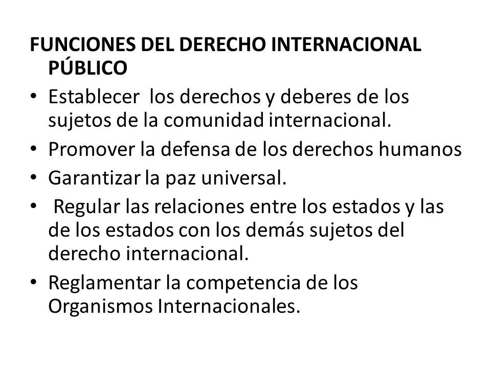 FUNCIONES DEL DERECHO INTERNACIONAL PÚBLICO Establecer los derechos y deberes de los sujetos de la comunidad internacional. Promover la defensa de los