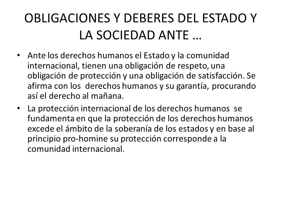 OBLIGACIONES Y DEBERES DEL ESTADO Y LA SOCIEDAD ANTE … Ante los derechos humanos el Estado y la comunidad internacional, tienen una obligación de resp
