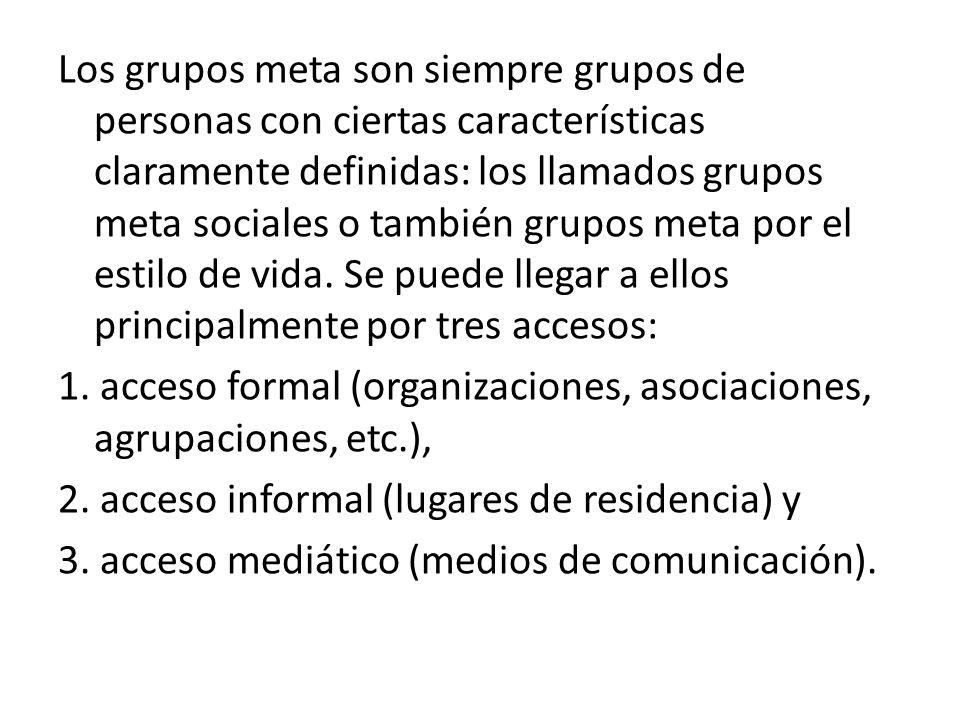 Quienes administran el respectivo acceso pueden convertirse también en grupos meta.