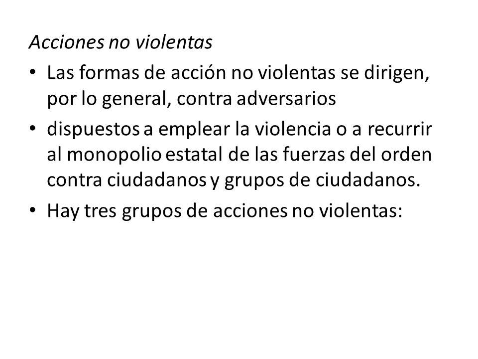 Protesta y presión No cooperación Intervenciones no violentas