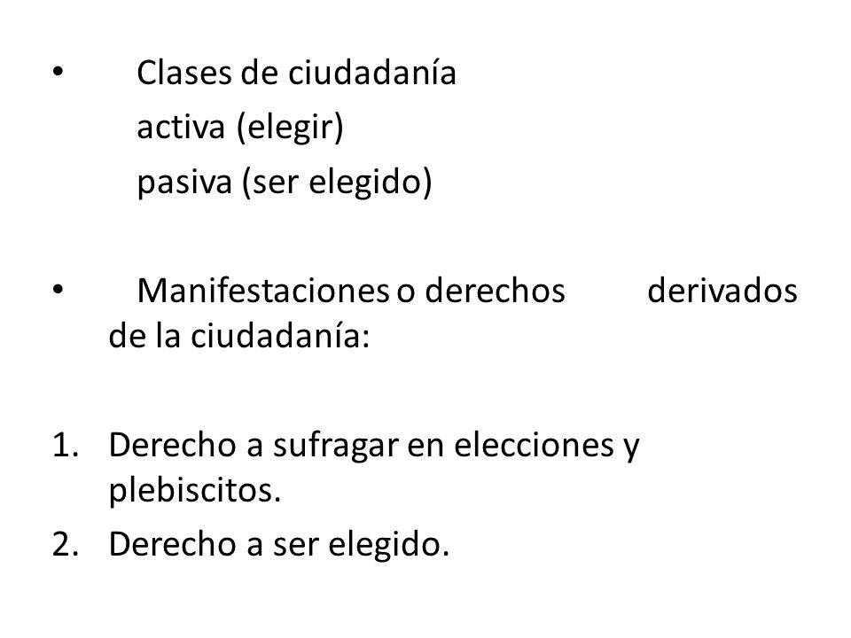 Clases de ciudadanía activa (elegir) pasiva (ser elegido) Manifestaciones o derechos derivados de la ciudadanía: 1.Derecho a sufragar en elecciones y