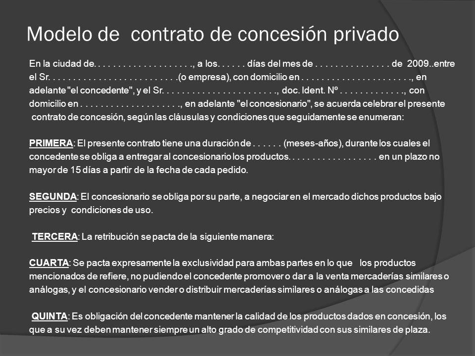 Modelo de contrato de concesión privado En la ciudad de...................., a los...... días del mes de............... de 2009..entre el Sr..........
