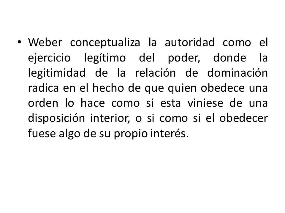 Weber conceptualiza la autoridad como el ejercicio legítimo del poder, donde la legitimidad de la relación de dominación radica en el hecho de que qui