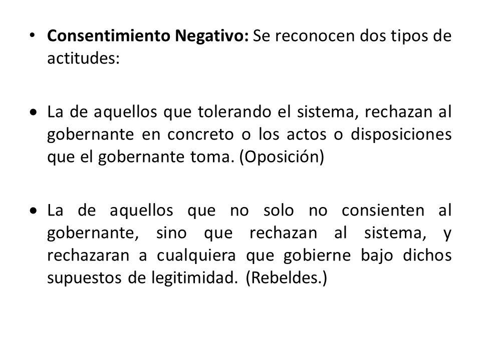 Consentimiento Negativo: Se reconocen dos tipos de actitudes: La de aquellos que tolerando el sistema, rechazan al gobernante en concreto o los actos