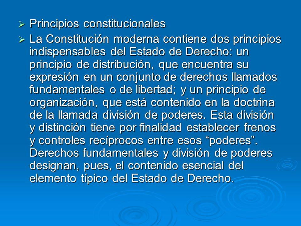 Principios constitucionales Principios constitucionales La Constitución moderna contiene dos principios indispensables del Estado de Derecho: un princ