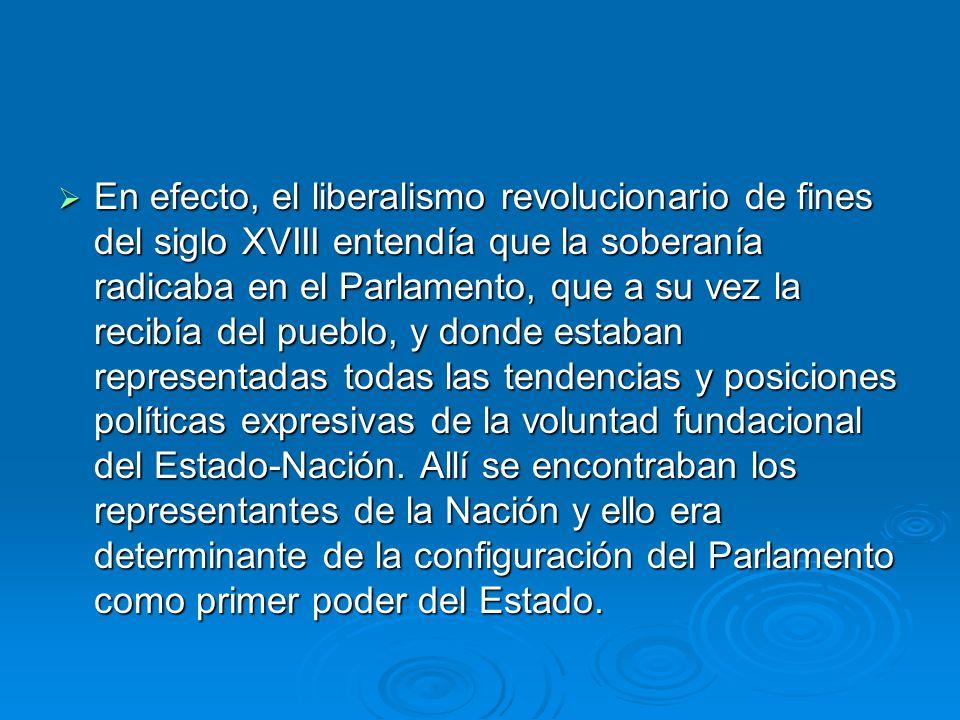 En efecto, el liberalismo revolucionario de fines del siglo XVIII entendía que la soberanía radicaba en el Parlamento, que a su vez la recibía del pue