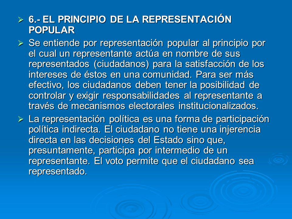 6.- EL PRINCIPIO DE LA REPRESENTACIÓN POPULAR 6.- EL PRINCIPIO DE LA REPRESENTACIÓN POPULAR Se entiende por representación popular al principio por el