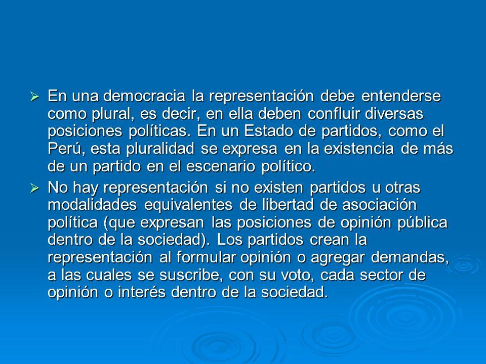 En una democracia la representación debe entenderse como plural, es decir, en ella deben confluir diversas posiciones políticas. En un Estado de parti