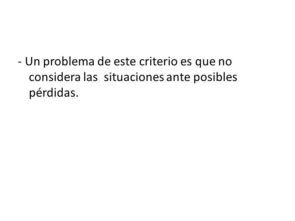 - Un problema de este criterio es que no considera las situaciones ante posibles pérdidas.