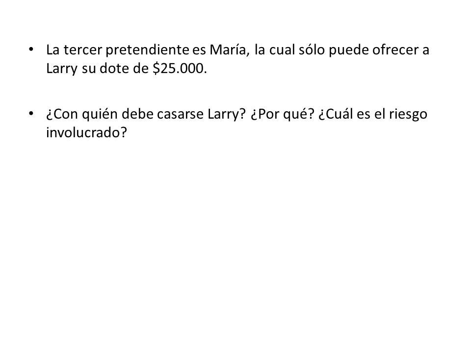 La tercer pretendiente es María, la cual sólo puede ofrecer a Larry su dote de $25.000. ¿Con quién debe casarse Larry? ¿Por qué? ¿Cuál es el riesgo in