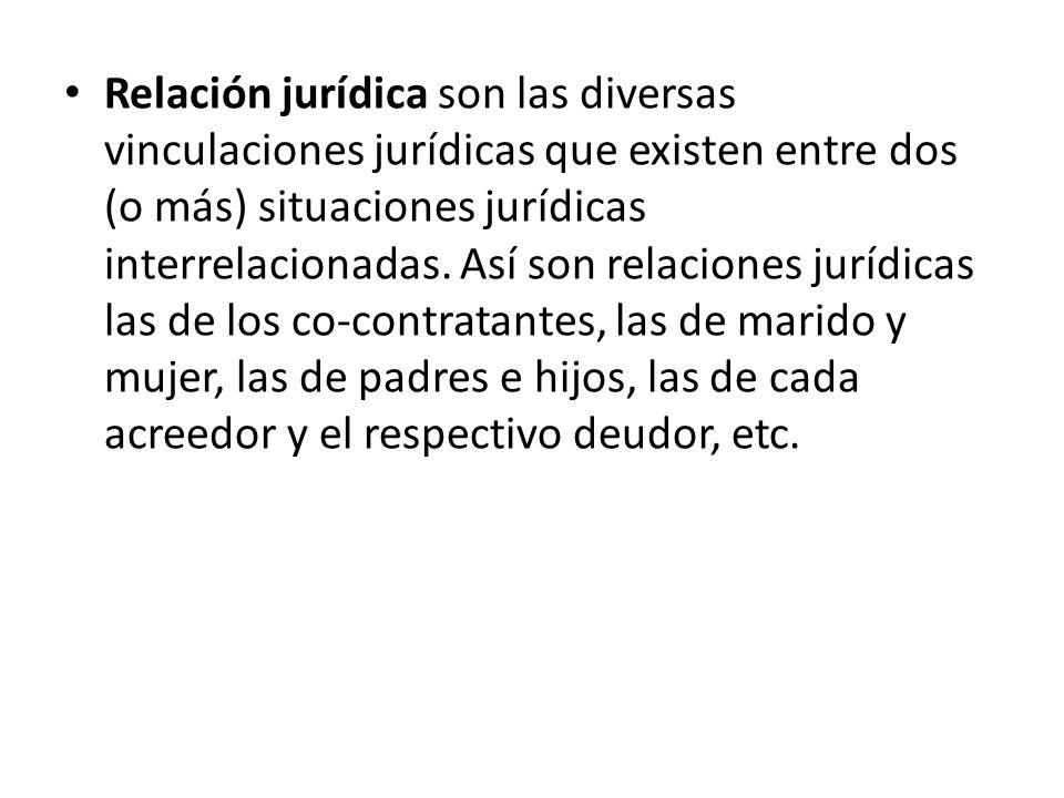 Relación jurídica son las diversas vinculaciones jurídicas que existen entre dos (o más) situaciones jurídicas interrelacionadas. Así son relaciones j