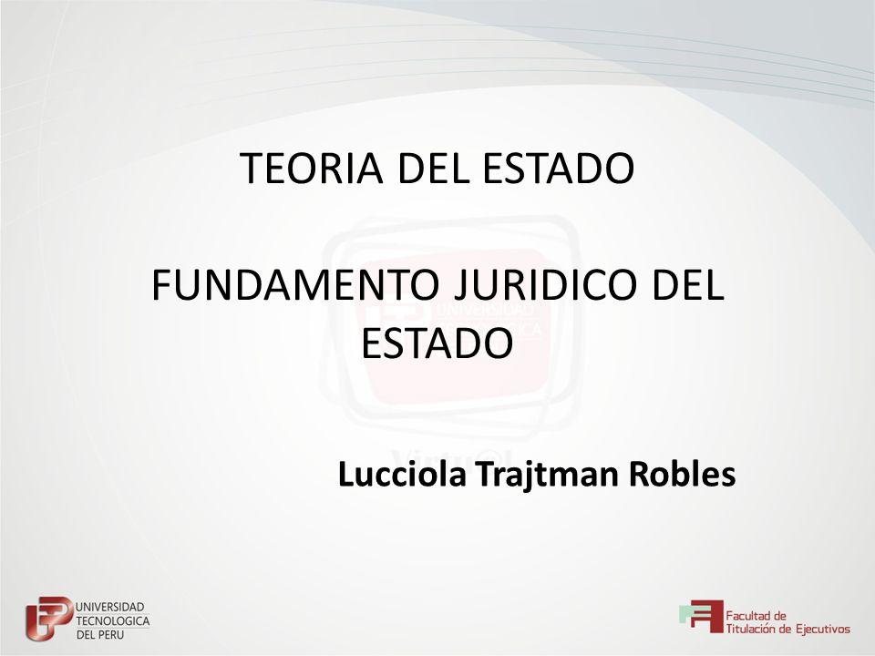 TEORIA DEL ESTADO FUNDAMENTO JURIDICO DEL ESTADO Lucciola Trajtman Robles
