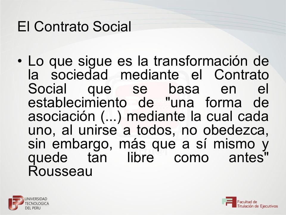 El Contrato Social Lo que sigue es la transformación de la sociedad mediante el Contrato Social que se basa en el establecimiento de