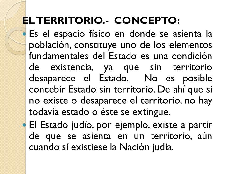 EL TERRITORIO.- CONCEPTO: Es el espacio físico en donde se asienta la población, constituye uno de los elementos fundamentales del Estado es una condi