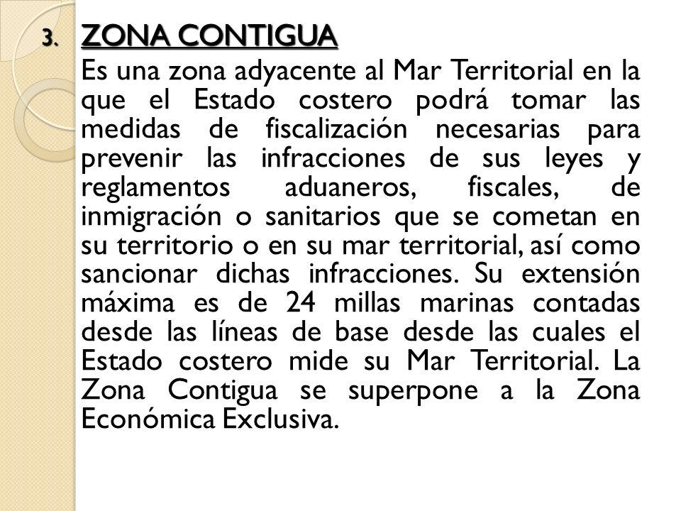 3. ZONA CONTIGUA Es una zona adyacente al Mar Territorial en la que el Estado costero podrá tomar las medidas de fiscalización necesarias para preveni