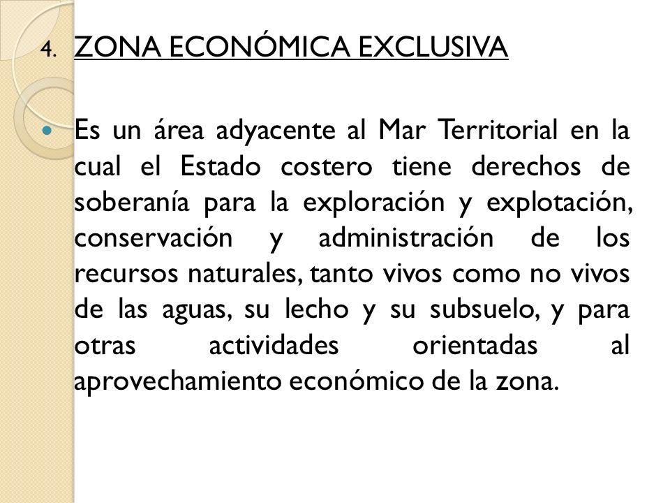 4. ZONA ECONÓMICA EXCLUSIVA Es un área adyacente al Mar Territorial en la cual el Estado costero tiene derechos de soberanía para la exploración y exp