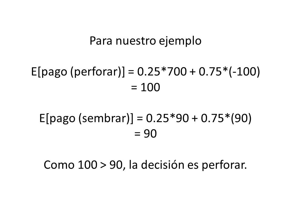 Para nuestro ejemplo E[pago (perforar)] = 0.25*700 + 0.75*(-100) = 100 E[pago (sembrar)] = 0.25*90 + 0.75*(90) = 90 Como 100 > 90, la decisión es perf
