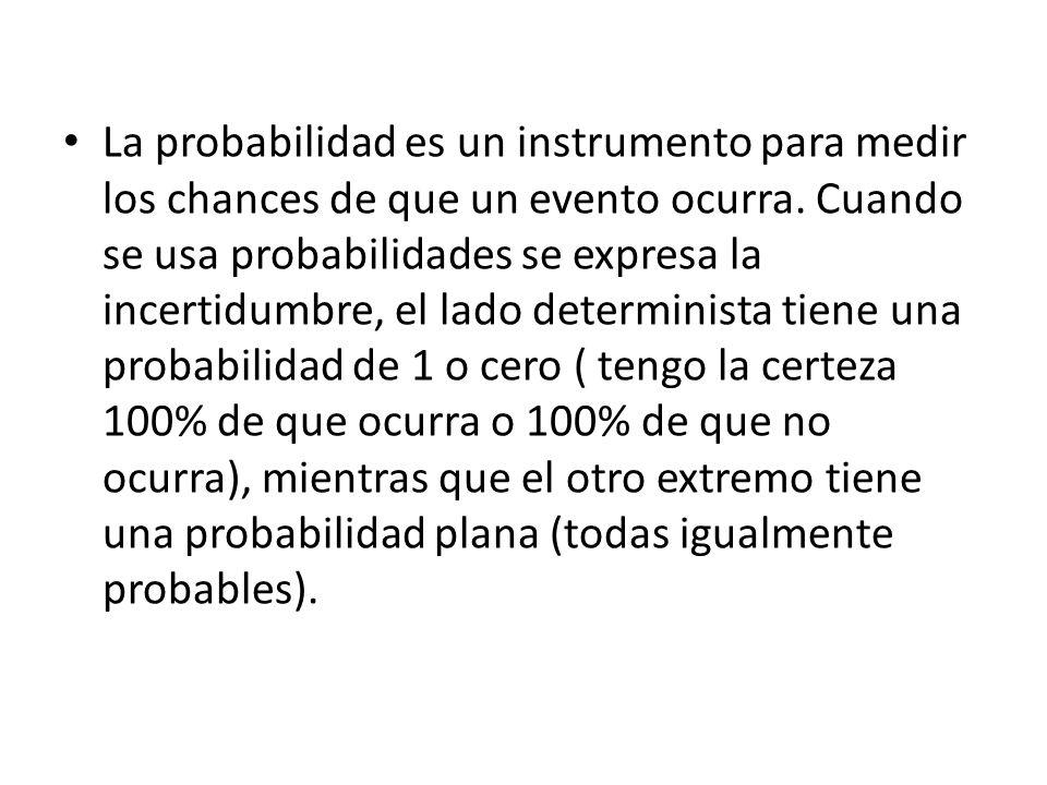 La probabilidad es un instrumento para medir los chances de que un evento ocurra. Cuando se usa probabilidades se expresa la incertidumbre, el lado de