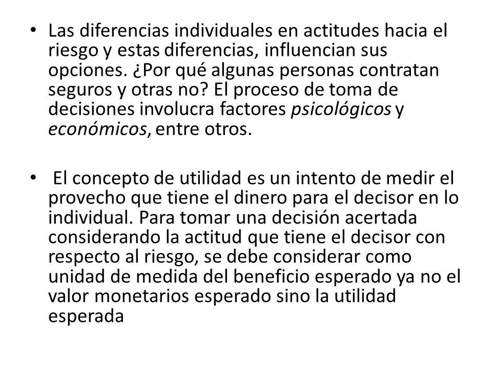 Las diferencias individuales en actitudes hacia el riesgo y estas diferencias, influencian sus opciones. ¿Por qué algunas personas contratan seguros y