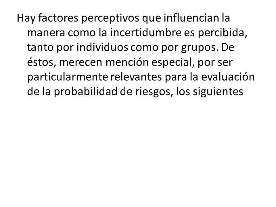 Hay factores perceptivos que influencian la manera como la incertidumbre es percibida, tanto por individuos como por grupos. De éstos, merecen mención