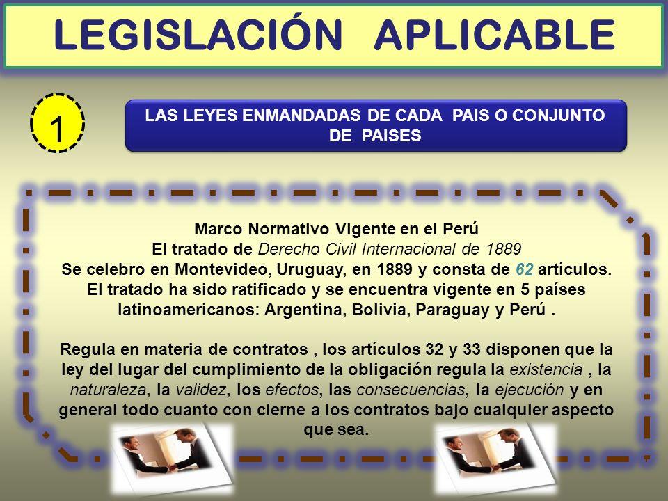 Marco Normativo Vigente en el Perú El tratado de Derecho Civil Internacional de 1889 Se celebro en Montevideo, Uruguay, en 1889 y consta de 62 artícul
