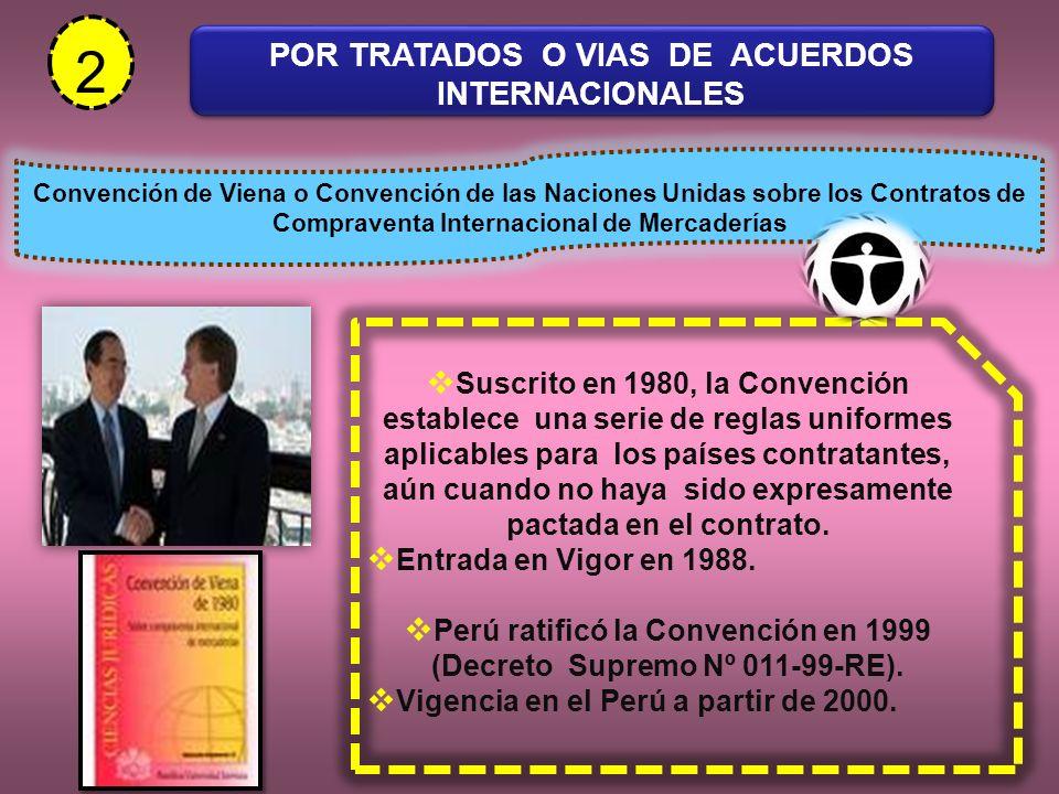 2 POR TRATADOS O VIAS DE ACUERDOS INTERNACIONALES Convención de Viena o Convención de las Naciones Unidas sobre los Contratos de Compraventa Internaci